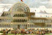 "The Great Exhibition, Works of Industry of All Nations: Hyde Park, 1851.Housed within the Crystal Palace, the Great Exhibition embodied Prince Albert's vision to display the wonders of industry from around the world. In addition to the wonders of industry, the event featured the first public toilets. Visitors paid 1d (""spent a penny"") to enter. The building had to be high enough to contain three full size trees. It was moved to Sydenham in 1852. Six million people (equivalent to a third of the population of Britain at the time) visited.  Copyright © 2017 A. K. Purkiss/The Hearsum Collection"