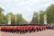 Soldiers marching down The Mall during Trooping the Colour