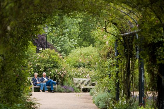 An older couple sit on a bench in the park