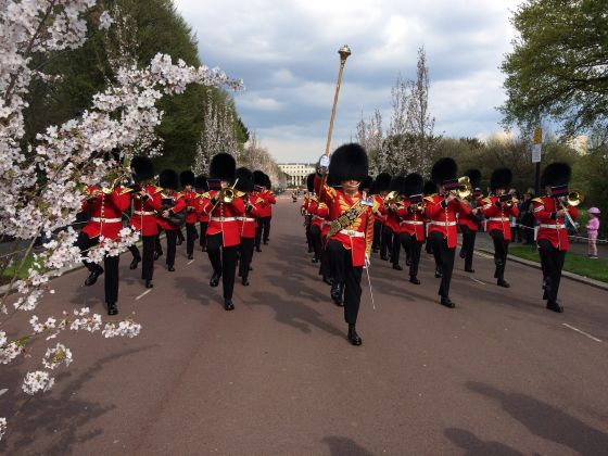 The Band of the Grenadier Guards march down Chester Road