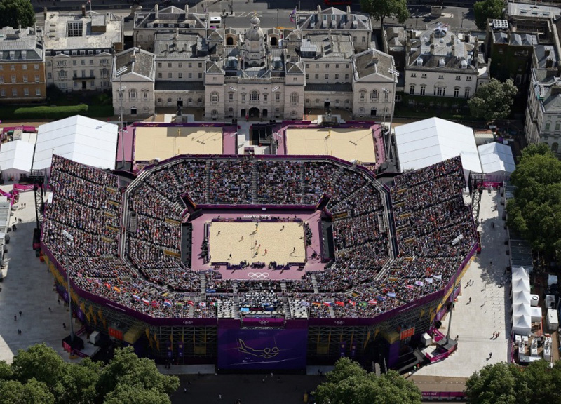 Aerial shot of the Beach Volleyball Stadium on Horseguards Parade