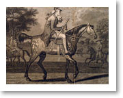 Hyde Park - Engraving from 1772 'A Macarony taking his morning ride in Hyde Park'. Courtesy of Westminster City Archives