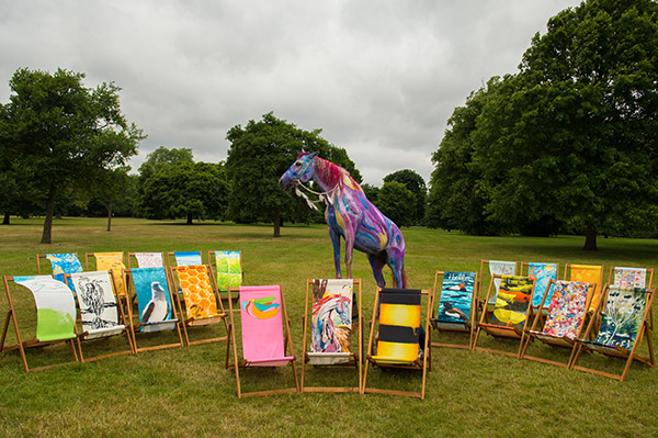 Designer deckchairs and a horse painted as Pegasus