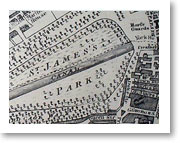 St James's Park - A map of the park from 1799 showing the horse guards.