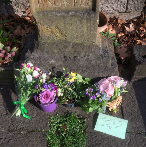Tributes left at Emmeline Pankhurst's grave on the centenary of the Representation of the People Act.