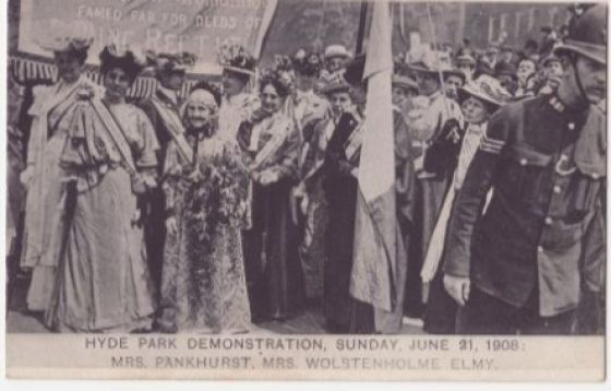Emmeline Pankhurst at the Votes for Women demonstration in 1908 © Imperial War Museum
