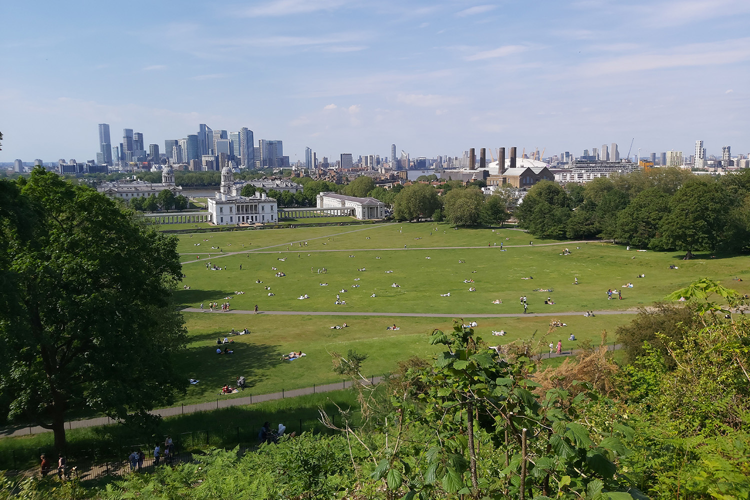 View from the Royal Observatory to the Queen's House and Canary Wharf