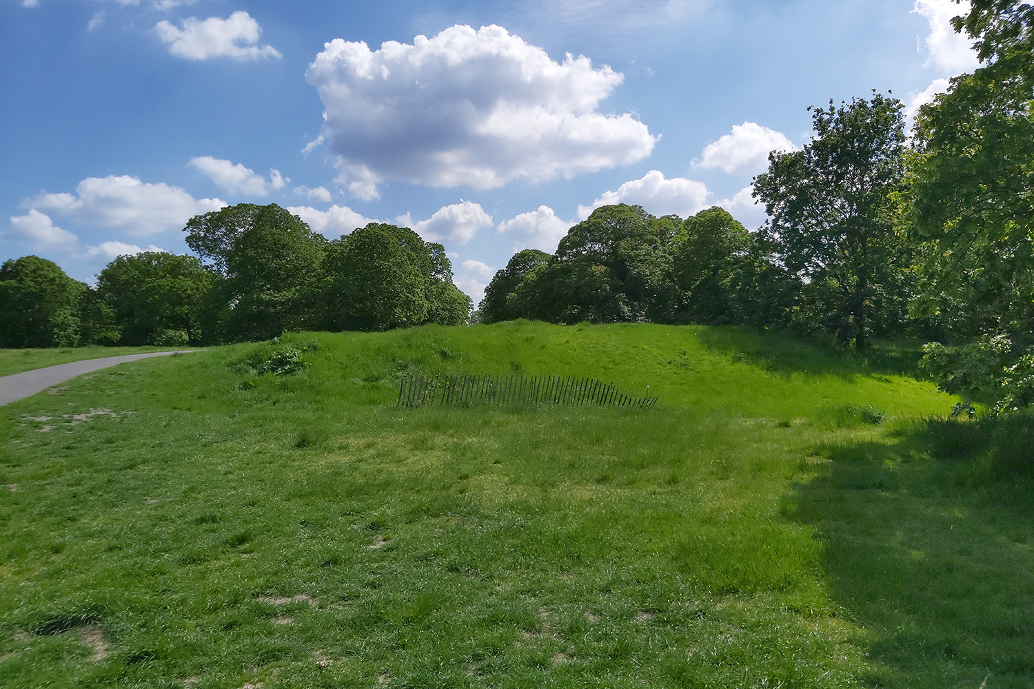 Grassy mound which was the site of a Roman temple