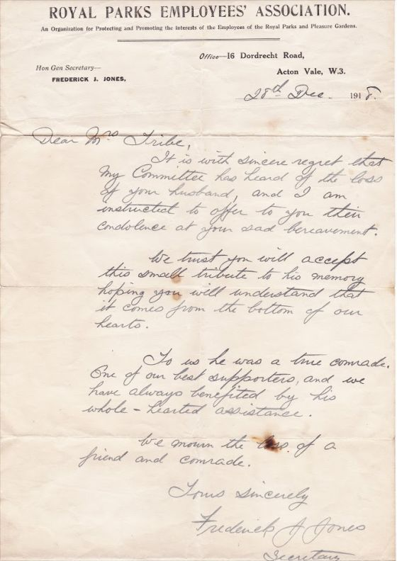 Letter from The Royal Parks to Hori Tribe's widow