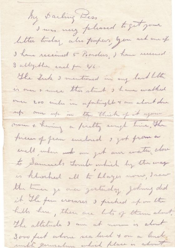 First part of a letter from Hori Tribe to his wife Bessie in WWI