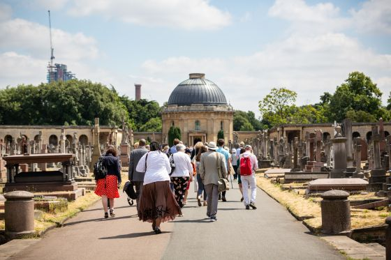 People walking to Brompton Cemetery chapel