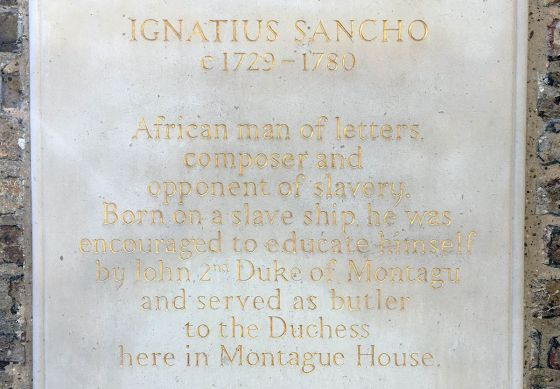 Plaque in memory of Igantius Sancho in Greenwich Park