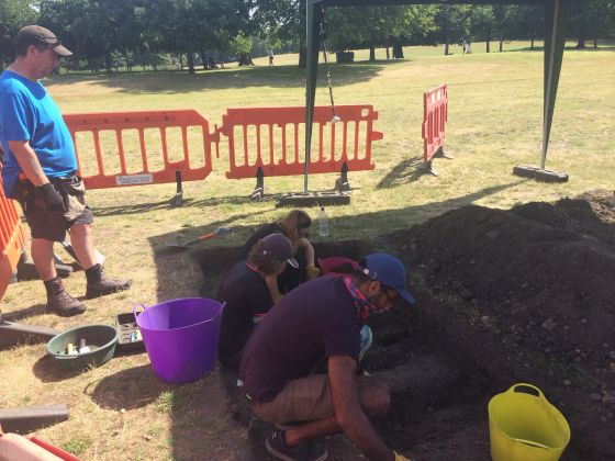 Park volunteers helping with the excavations