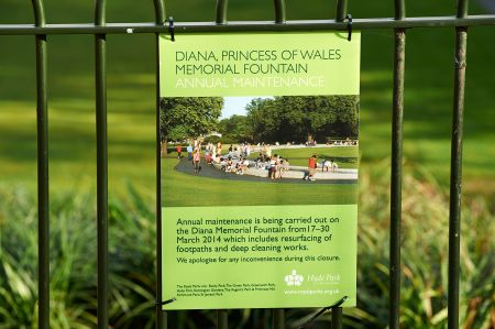 Diana Memorial Fountain closed for annual maintenance, 30 October-10 November 2017