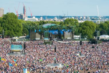 View of British Summer Time Hyde Park festival site and main stage