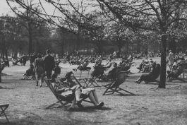 Relaxing on deckchairs in the 1940s