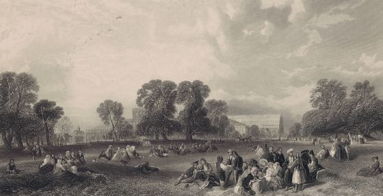 People relaxing in Hyde Park by the Great Exhibition © The Hearsum Collection