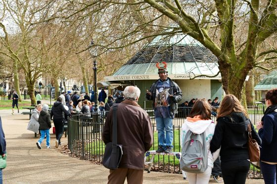 A speaker at Speakers Corner