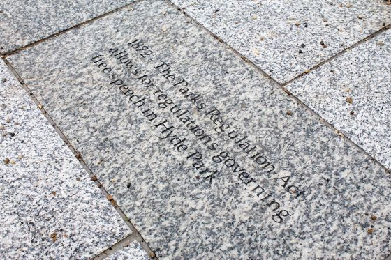 Engraved granite stone at Speakers' Corner