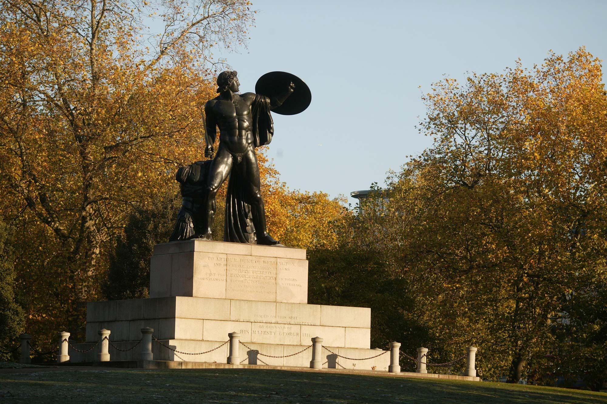 Statue of Achilles in Autumn