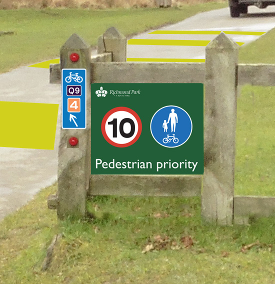 Proposed entrance sign to Pedestrian Priority Zone