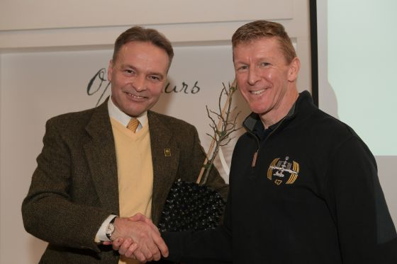 Assistant Park Manager Bill Swan with astronaut Tim Peake