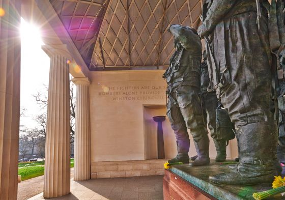 Dedication and pilot statues within the memorial