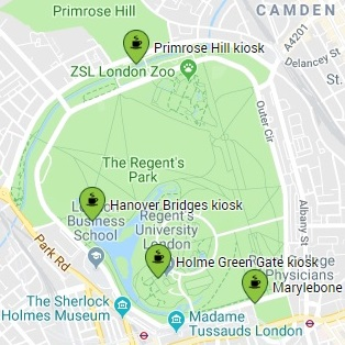 Map showing kiosks in Regents Park