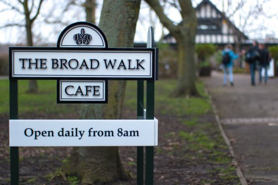 Entrance sign of The Broad Walk Cafe