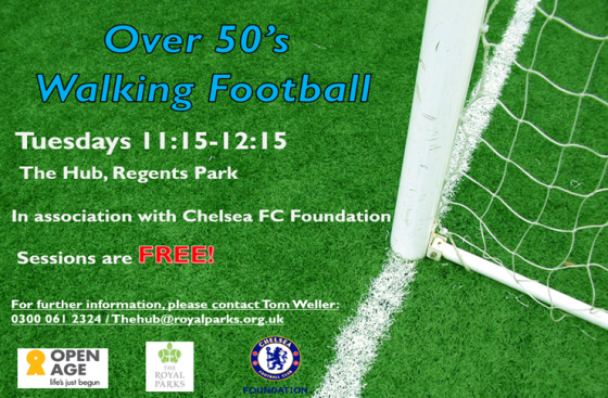 Poster for the Over 50s Walking Football sessions at Regent's Park