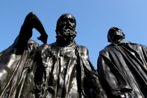 Close up of the Burghers of Calais statue