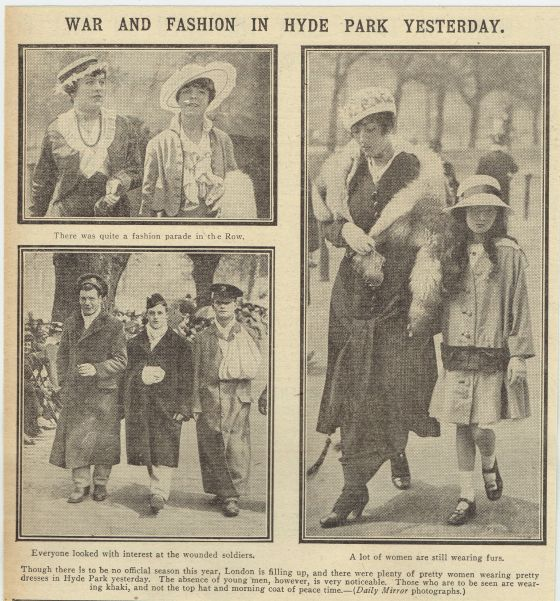 Newspaper article on war and fashion in Hyde Park.