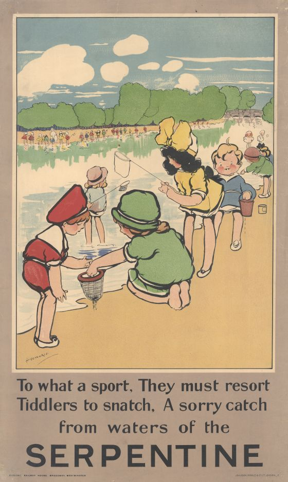 A poster showing children playing by the Serpentine