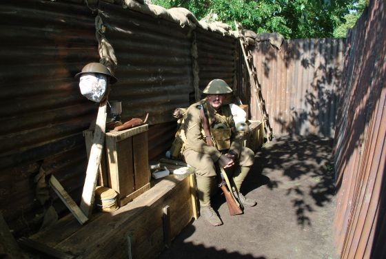 A member of the 10th Essex Living History Regiment in the replica trench.