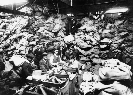 Christmas mail at the Regent's Park sorting office. IWM Q54267