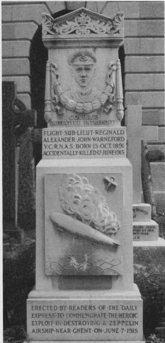 Reginald Warneford's memorial in Brompton Cemetery, finely carved with an illustration of his success in shooting down a zeppelin.
