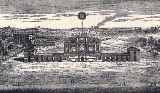 The Temple of Peace, Green Park, 1748. This temple commemorated peace after the War of Austrian Succession (1740-1748), which involved most of the European nations. Conceived as an elaborate Doric temple, it was monumental at 410 feet long and 114 feet high. One hundred and twelve musicians and a hundred cannon were synchronised with a spectacular firework display, including an artificial sun that was to burn for four hours. Unsurprisingly, the designer fell ill before completion and his deputy was severely injured.  The opening night on 27 April 1748 began with the War and Peace overture, commissioned from Handel, but just ninety minutes later the structure was destroyed by fire. At a cost of three lives and £90,000, equivalent to over £18m today, this was a very expensive ninety minutes.  Copyright © 2017 The Hearsum Collection.