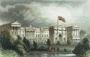 The Queen's Palace, Pimlico, Middlesex c.1842. At the time of this engraving, Marble Arch stood at the entrance to Buckingham Palace.  The structure was designed by John Nash in 1827 to be the state entrance to the cour d'honneur of Buckingham Palace; it stood near the site of what is today the three-bayed, central projection of the palace containing the well-known balcony.  When building work began in 1847, the arch was dismantled and rebuilt by Thomas Cubitt as a ceremonial entrance to the northeast corner of Hyde Park at Cumberland Gate. The reconstruction was completed in March 1851.   A popular story says that the arch was moved because it was too narrow for the Queen's state coach to pass through, but, in fact, the gold state coach passed under it during Elizabeth II's coronation in 1953.  Copyright © 2017 The Hearsum Collection