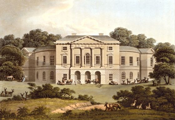 Lord Sidmouth's Lodge  in Richmond Park, 1816. White Lodge, built as a royal hunting lodge, was completed in 1727. The lodge was built as a hunting lodge for George I and completed by his son George II shortly after his accession to the throne in 1727. Henry Addington (later Viscount Sidmouth) moved there when he became Prime Minister in 1801.  It has been home to the Royal Ballet School since 1955.  Copyright © 2017 The Hearsum Collection