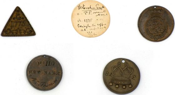 "Copper entrance tokens to Richmond Park, Mid 18th Century. When Richmond Park was a private Royal hunting ground, the public were excluded for reasons of royal privacy and safety. Nonetheless, access was granted to a privileged few on production of a token or ""card of admission"". Some of the passes are pierced for suspension from a key. Copyright © 2017 The Hearsum Collection"