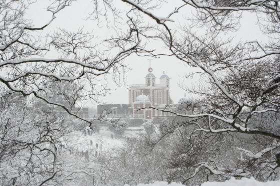 Royal Observatory in the snow, Greenwich Park, by Christopher	Owen
