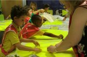 Children making art for the 'A Right Royal Buzz' exhibition