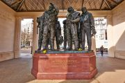 Statues of pilots within the Bomber Command Memorial