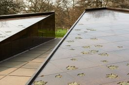Maple leaves embedded on the Canada Memorial