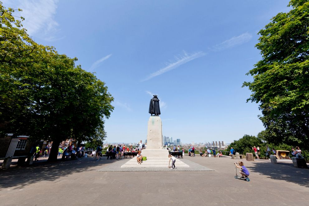 View of General Wolfe Statue and London skyline