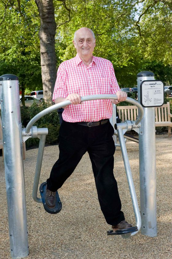 Man using the Hyde Park Seniors' Playground