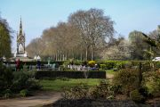Views of the Albert Memorial from the Hyde Park Tennis and Sports Centre