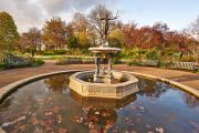 The Huntress Fountain in autumn