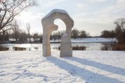 The Henry Moore Arch in the snow