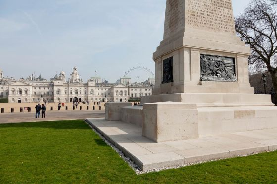Guard's Memorial with view of Horse Guards Parade and  London Eye